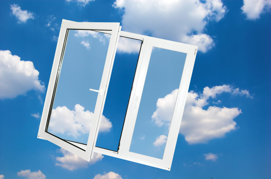 Window on blue sky