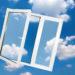 Window on blue sky